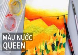 Vẽ tranh phong cảnh đồi núi mùa thu | Màu nước Queen | Easy Beautiful Landscape Watercolor Painting