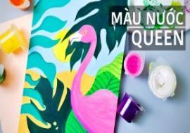 Biến màu nước Queen thành màu poster | Easy Tropical Flamingo Painting | Watercolor Painting