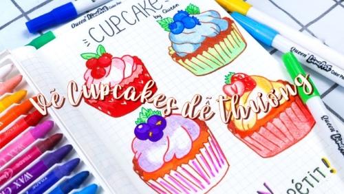 Vẽ cupcake dễ thương bằng bút lông màu I Bút Lông Màu Queen I Cute Cupcake Doodles Art