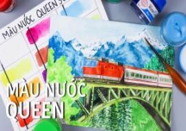 Vẽ tranh phong cảnh núi tuyết xe lửa bằng màu nước Queen I Train Landscape Painting | Watercolor