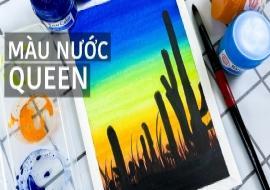 Vẽ tranh phong cảnh sa mạc đơn giản bằng nước | Màu Nước Queen | Easy Cactus Landscape Painting
