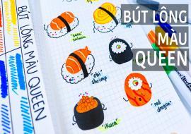 Vẽ sushi bằng bút lông màu I Bút lông màu Queen I Cute sushi drawing