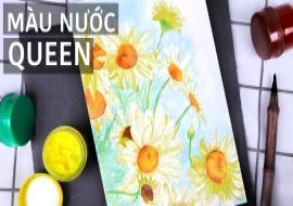 Vẽ tranh hoa Cúc bằng màu nước | Màu Nước Queen | Easy Daisy Watercolor Painting